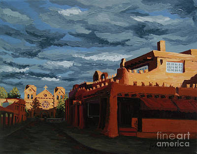 Print featuring the painting Los Farolitos,the Lanterns, Santa Fe, Nm by Erin Fickert-Rowland