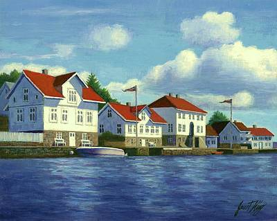 Farsund Painting - Loshavn Village Norway by Janet King