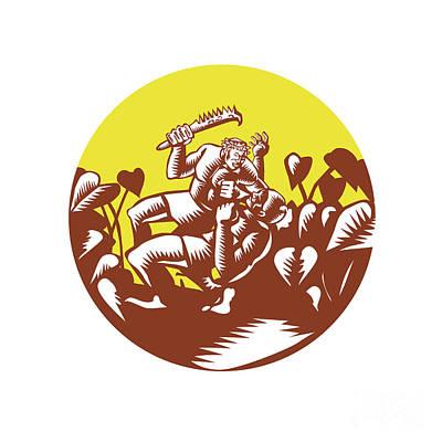 Losi Defeating God Circle Woodcut Art Print