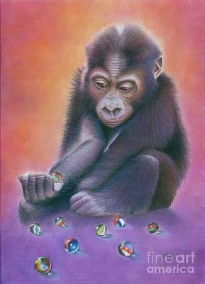 Cute Monkey Drawing - Losing My Marbles by Karen Hull