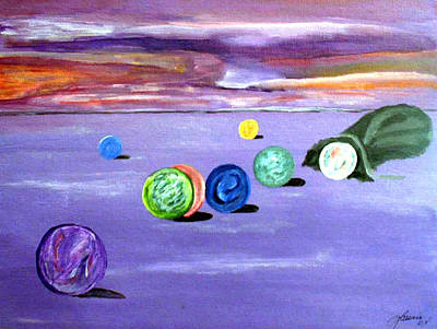 Mental Illness Painting - Losing My Marbles by  Laurie Homan