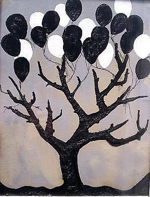 Painting - Lost Balloons On A Gray Day by Michael Puleo