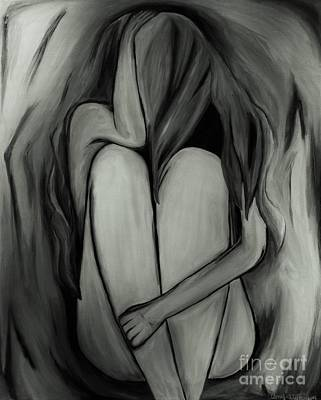 Woe Painting - Lost - Black And White by Amy Wilkinson