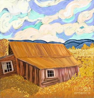 Montana Digital Art - Lost Cabin In The Mountains by Sydne Archambault