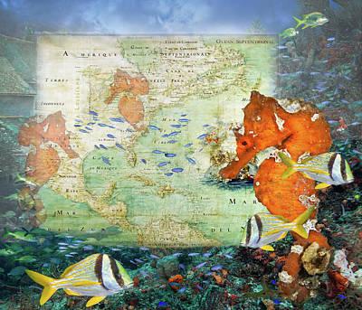 Photograph - Lost City Vintage Reef Map by Debra and Dave Vanderlaan