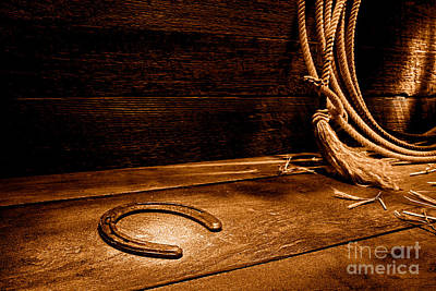 Photograph - Lost Horseshoe - Sepia by Olivier Le Queinec