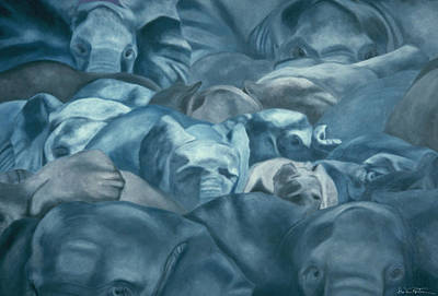 Painting - Elephants Lost In The Crowd by Dee Van Houten