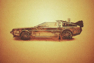 Lost In The Wild Wild West Golden Delorean Doubleexposure Art Print by Philipp Rietz