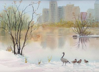 Painting - Lost Lagoon In Snow by Yohana Knobloch