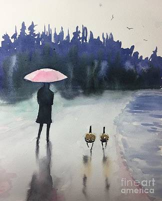 Geese Painting - Walk In The Rain by Yohana Knobloch