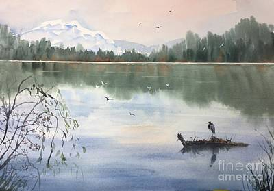 Painting - Lost Lagoon With Blue Heron by Yohana Knobloch