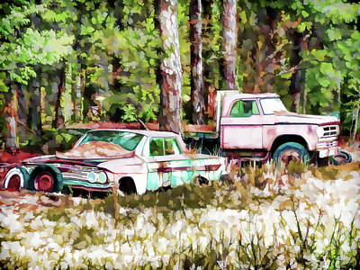 Old Junk Car Painting - Lost My Sparkle by Lanjee Chee