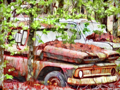 Old Junk Car Painting - Lost Not Found by Lanjee Chee