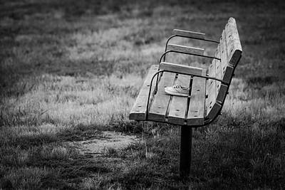 Lost Soles Photograph - Lost Soles Bench Minimalist by Terry DeLuco