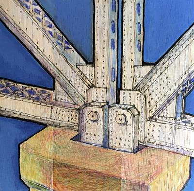 Rivets Drawing - Lost To Demolition, Bay Bridge by Bill Jeng