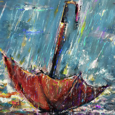 Acylic Painting - Lost Umbrella by Mark Tonelli