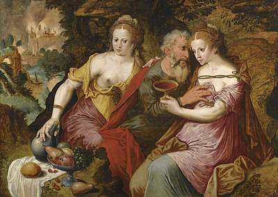 Painting - Lot And His Daughters by Master of the Prodigal Son