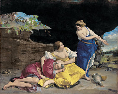 Wine Cave Painting - Lot And His Daughters by Orazio Gentileschi