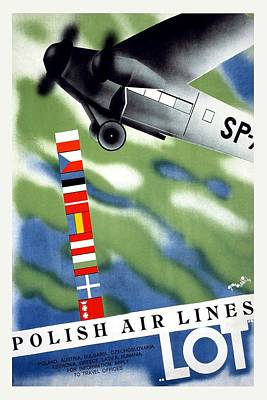Airplane Mixed Media - Lot Polish Airlines, Poland - Flags Of The Countries - Retro Travel Poster - Vintage Poster by Studio Grafiikka