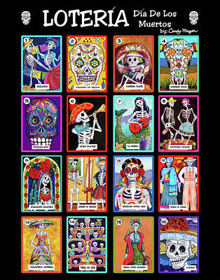 Wall Art - Painting - Loteria Dia De Los Muertos by Candy Mayer