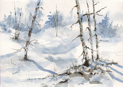 Winter Trees Painting - Lots Of Snow For Dustie by Sam Sidders