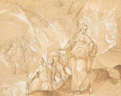 Look Back Drawing - Lot's Wife Looking Back At The Destruction Of Sodom And Gomorrah  by Toussaint Dubreuil