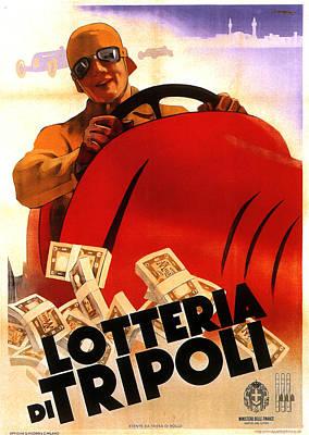 Mixed Media - Lotteria Di Tripoli - Lottery - Vintage Italian Advertising Poster by Studio Grafiikka