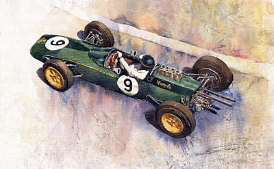 Autos Painting - Lotus 25 F1 Jim Clark Monaco Gp 1963 by Yuriy  Shevchuk