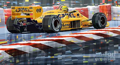 Lotus Wall Art - Digital Art - Lotus 99t 1987 Ayrton Senna by Yuriy Shevchuk