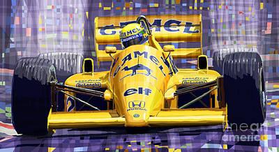 Classic Mixed Media - Lotus 99t Spa 1987 Ayrton Senna by Yuriy  Shevchuk