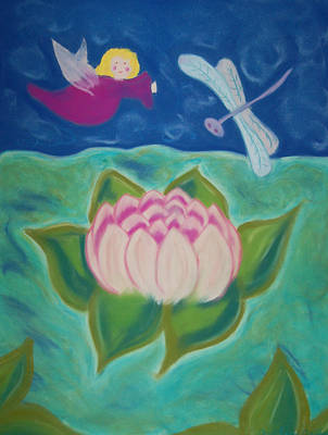 Lotus And Dragonfly Original by Christine Crosby