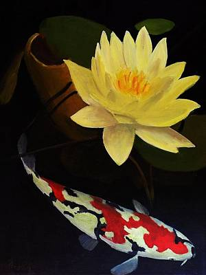 Lilly Pond Painting - Lotus And Koi- Plant And Animal Painting by Glenn Ledford