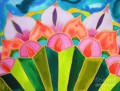 Painting - Lotus And Palmetto Leaf Caye Caulker Belize by Lee Vanderwalker