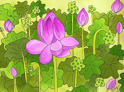 Painting - Lotus And Waterlilies by Suzy Mandel-Canter