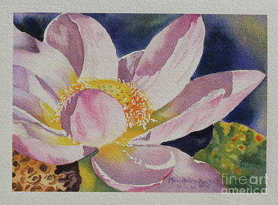 Art Print featuring the painting Lotus Bloom by Mary Haley-Rocks