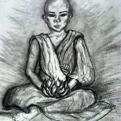 Buddha Sketch Drawing - Lotus Boy by Nicole Lafountain
