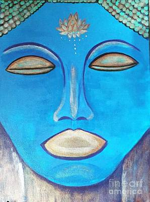 Silver Turquoise Painting - Lotus Buddha  by Gail Nandlal