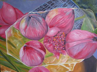 Lotus Buds Shanghai Market Art Print by Lisa Boyd