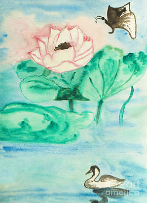Painting - Lotus, Butterfly And Swan, Painting by Irina Afonskaya