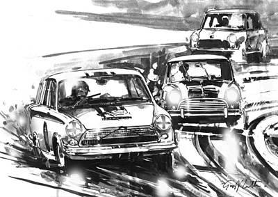 Austin Drawing - Lotus Cortina Vs. Morris Mini Cooper And An Austin Se7en At Brands Hatch by Geoff Latter