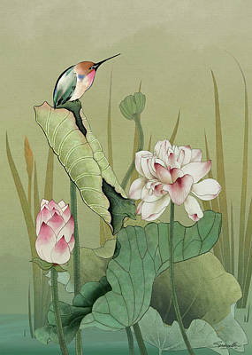 Digital Art - Lotus Flower And Hummingbird by IM Spadecaller