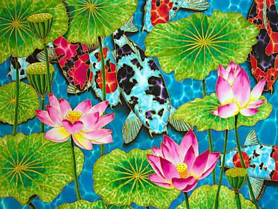 Lotus  Flower  And  Koi Fish Art Print by Daniel Jean-Baptiste