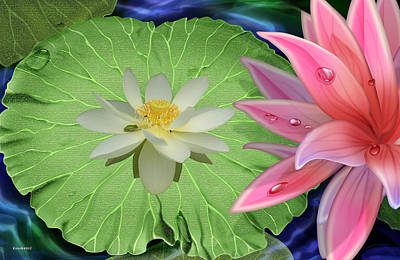 Photograph - Lotus Flower On Pad In A Pond Setting by Gary Crockett