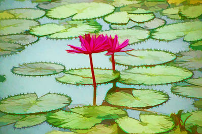 Lotus Flower On The Water 3 Print by Lanjee Chee