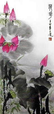 Painting - Lotus Flowers by Yufeng Wang