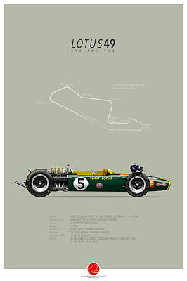 Lotus-ford 49 Graham Hill 1968 Art Print by Last Corner