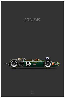 Lotus-ford 49 Grey Line Art Print by Last Corner