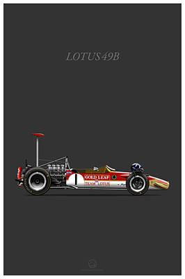 Lotus-ford 49b Grey Line Art Print by Last Corner