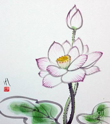Painting - Lotus by Fumiyo Yoshikawa