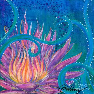 Blue Healer Painting - Lotus Funk by Karen Feiling